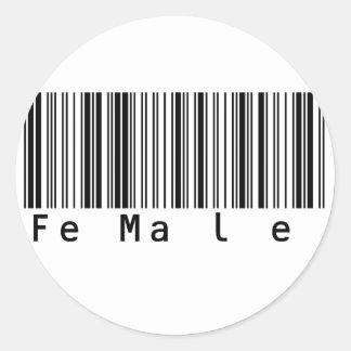 女性のファンキーなバーコード ラウンドシール