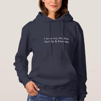 女性のフード付きスウェットシャツ -- 私のイスラム教家族及び友人を愛して下さい パーカ