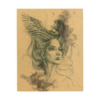 女性のポートレートの鳥のスカルおよび翼木キャンバス ウッドウォールアート