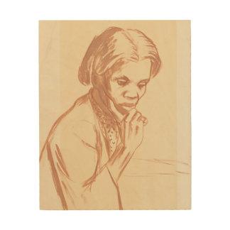 女性のポートレート ウッドウォールアート