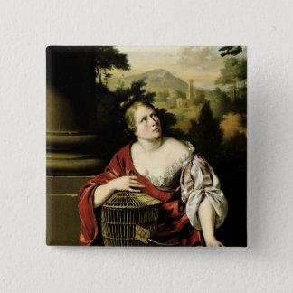 女性のポートレート、1687年 5.1CM 正方形バッジ