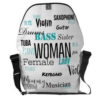 女性のメッセンジャーバッグ音楽版(青い) メッセンジャーバッグ
