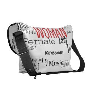 女性のメッセンジャーバッグ音楽版(blkか赤) メッセンジャーバッグ