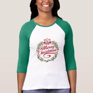女性のメリークリスマスの袖のRaglanのTシャツ Tシャツ