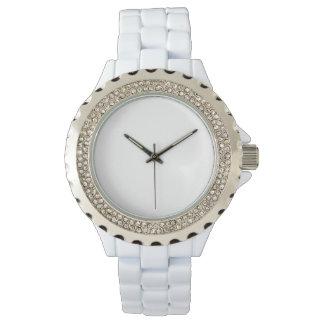 女性のラインストーンの白いエナメルの腕時計 リストウオッチ