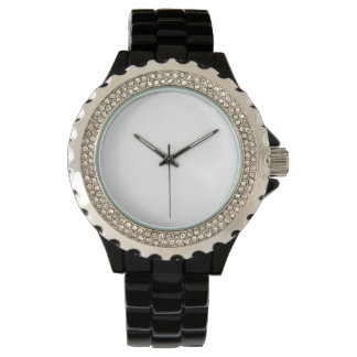 女性のラインストーンの黒のエナメルの腕時計 腕時計