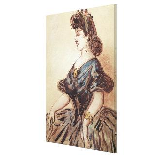 女性の半身のポートレート キャンバスプリント