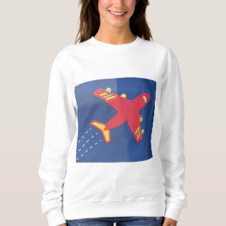 女性の基本的なスエットシャツの勇敢な飛行機の航空機 スウェットシャツ