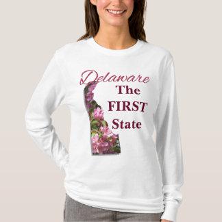 女性の基本的な長袖のティー-デラウェア州 Tシャツ