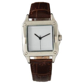 女性の完全な正方形のブラウンの革バンドの腕時計 ウオッチ