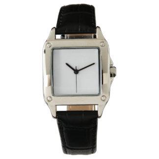女性の完全な正方形の黒の革バンドの腕時計 腕時計