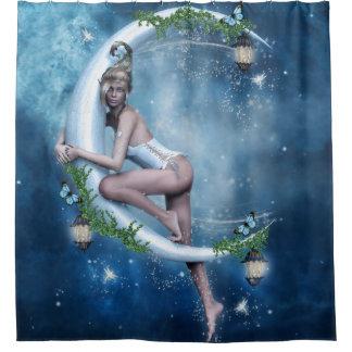 女性の小妖精や小人の月のシャワー・カーテン シャワーカーテン