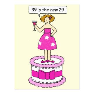 女性の年齢のユーモア、第39誕生日 ポストカード