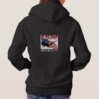 女性の愛国心が強いフード付きのスエットシャツの黒 パーカ