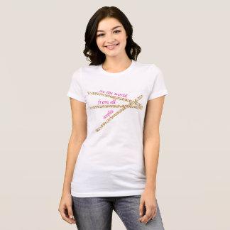 女性の抽象芸術は世界のジャージーのTシャツを見ます Tシャツ