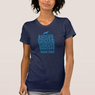 女性の救助の単語ブロックの青 Tシャツ