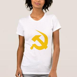 女性の新厚く明るく黄色いハンマー及び鎌 Tシャツ