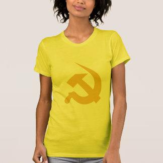 女性の新厚く暗く黄色いハンマー及び鎌 Tシャツ