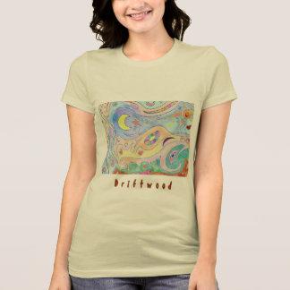 女性の柔らかいクリーム色のTシャツ: 流木の芸術 Tシャツ