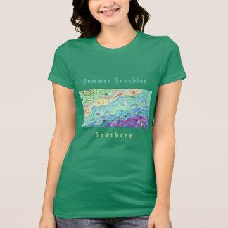 女性の柔らかいクリーム色のTシャツ: 海岸の芸術/文字 Tシャツ