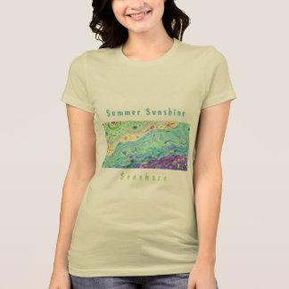 女性の柔らかいクリーム色のTシャツ: 海岸の芸術/文字V2 Tシャツ