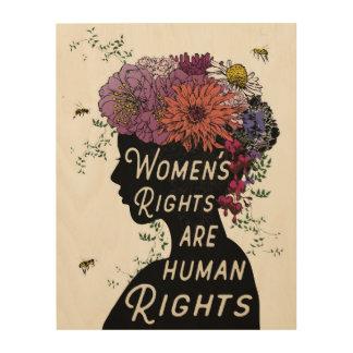 女性の権利は人権-木製のパネルです ウッドウォールアート
