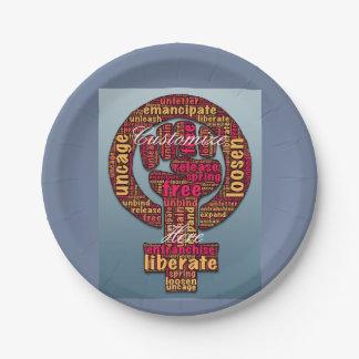 女性の権利は握りこぶし2017 LGBTQIAを上げました ペーパープレート