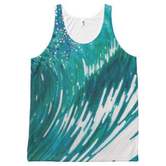 女性の海洋波のタンクトップの青緑の緑 オールオーバープリントタンクトップ
