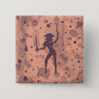 女性の海賊ボタン 5.1CM 正方形バッジ
