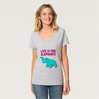 女性の生命は象Vの首のためです Tシャツ
