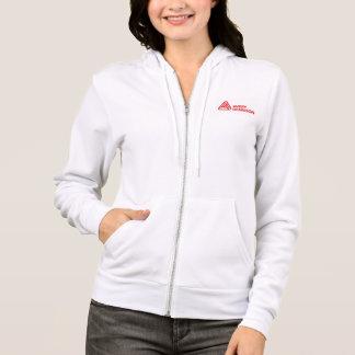女性の白いフード付きスウェットシャツ パーカ