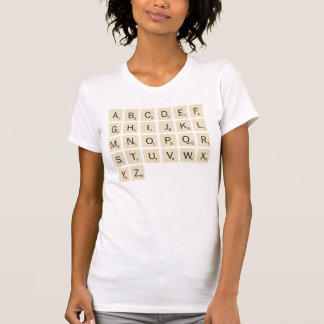 女性の白く名前入りなスクラブル Tシャツ