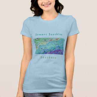 女性の空色のTシャツ: 海岸の芸術/文字 Tシャツ