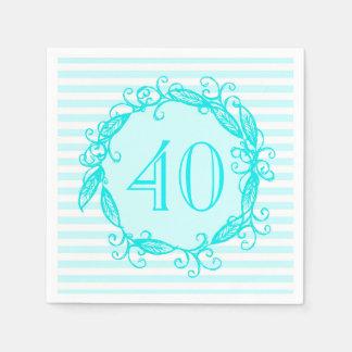女性の第40誕生日の水の青く白い渦巻形の スタンダードカクテルナプキン
