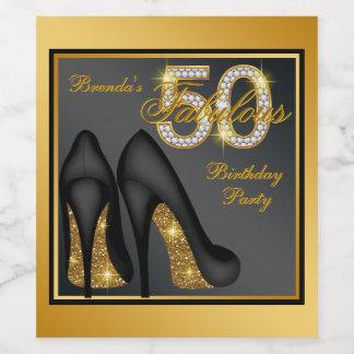 女性の第50誕生日のワイン・ボトルのラベル ワインラベル