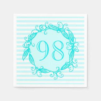 女性の第98誕生日の水の青く白い渦巻形の スタンダードカクテルナプキン