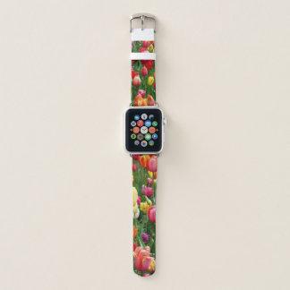 女性の粋な春の花の腕時計 APPLE WATCHバンド