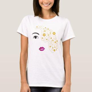 女性の美しいワイシャツ、目の唇の毛の花柄 Tシャツ