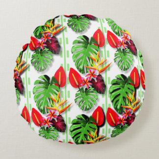 女性の美しく粋な熱帯葉の花 ラウンドクッション