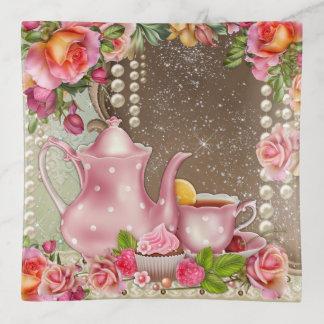 女性の茶テーマの装身具の皿 トリンケットトレー