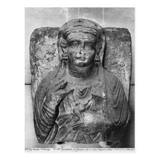 女性の葬式のレリーフ、浮き彫り、から ポストカード