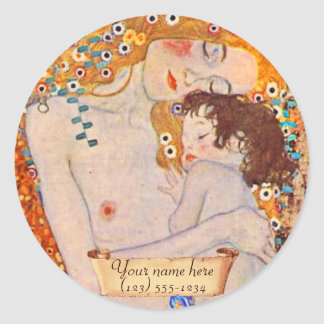 女性の蔵書票のグスタフのクリムトの年齢 ラウンドシール