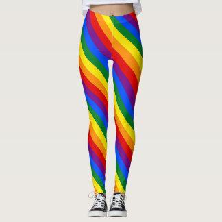 女性の虹のレギンス レギンス