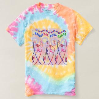 女性の螺線形の絞り染めのおもしろいな精神的な精神のダンス Tシャツ
