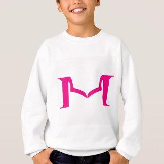 女性の襟足と設計されているアルファベットM スウェットシャツ