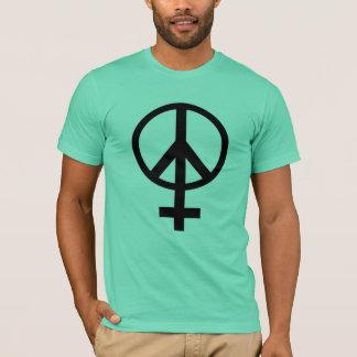 女性の記号のピースサインのTシャツ Tシャツ