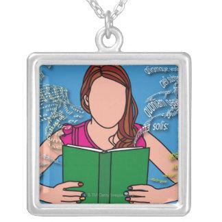 女性の読書のイラストレーション シルバープレートネックレス