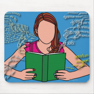 女性の読書のイラストレーション マウスパッド
