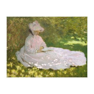 女性の読書春Monet キャンバスプリント