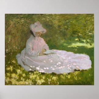 女性の読書春Monet ポスター